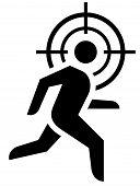 pic of crosshair  - Man running under crosshair icon - JPG