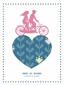 stock photo of tandem bicycle  - Vector blloming vines stripes couple on tandem bicycle heart silhouette frame pattern greeting card template graphic design - JPG
