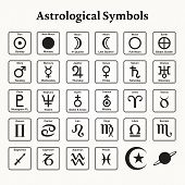 stock photo of horoscope signs  - Elements of astrological symbols and signs - JPG