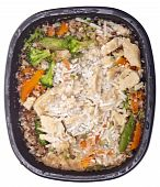 foto of frozen tv dinner  - Frozen Dinner with Coconut Chicken After Heating in Black Bowl - JPG