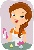 image of household  - Illustration of a Girl Making an Organic Household Cleaner - JPG