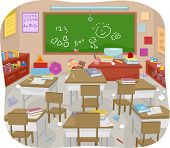 picture of messy  - Illustration of a Messy and Disorganized Classroom - JPG
