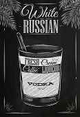 pic of cocktail  - White russian cocktail in vintage style stylized drawing with chalk on blackboard - JPG
