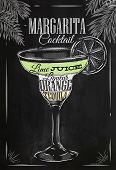 image of cocktail  - Margarita cocktail in vintage style stylized drawing with chalk on blackboard - JPG