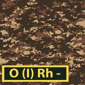 picture of camouflage  - Badge blood group with Rh negative on brown camouflage background - JPG