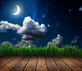 stock photo of moon stars  - backgrounds night sky with stars and moon and clouds - JPG