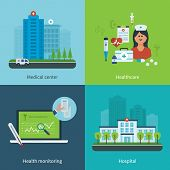 picture of health center  - Flat design modern vector illustration concept for medical care - JPG