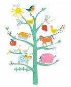 stock photo of funny animals  - Cute card with tree and animals for kids  - JPG
