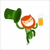 stock photo of saint patrick  - leprechaun charachter isolated - JPG