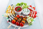 pic of dipping  - Assortment of fruit and vegetable appetizer with dips - JPG