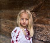 picture of national costume  - Wonderfull little blonde girl in ukrainian national costume  - JPG