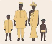 picture of average man  - Average african family with two children in traditional clothes - JPG