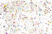 image of confetti  - Confetti scattered in all colors with white background - JPG