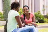 picture of sitting a bench  - cheerful african female students sitting on bench at university campus - JPG