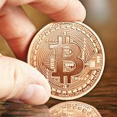 stock photo of bit coin  - photo of golden bitcoins  - JPG