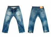 foto of taper  - front and back old jeans isolated on a white background - JPG