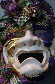 picture of debauchery  - Mardi Gras mask on display in New Orleans - JPG