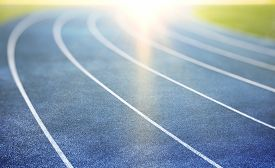 image of race track  - blue running track for athletics and competition