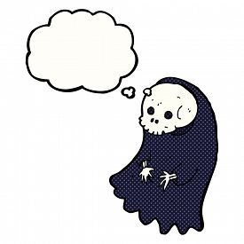 stock photo of ghoul  - cartoon spooky ghoul with thought bubble - JPG