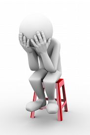 pic of stool  - 3d rendering of sad frustrated depressed person sitting on stool - JPG