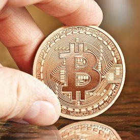 pic of bit coin  - photo of golden bitcoins  - JPG