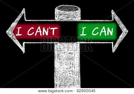 Opposite Arrows With I Can't Versus I Can