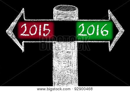 Opposite Arrows With Year 2015 Versus Year 2016