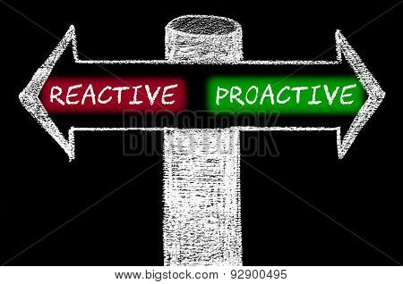Opposite Arrows With Reactive Versus Proactive
