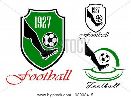 Green and black soccer or football symbol