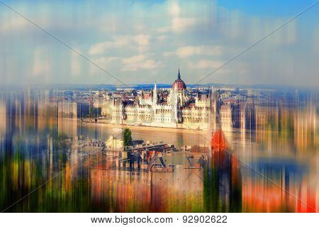 Abstract Background. View Of The Budapest And Danube River From Buda Castle.