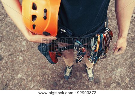 Woman With Climbing Equipment Outdoor