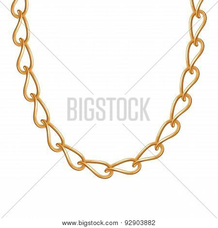 Thin chain golden metallic necklace or bracelet.