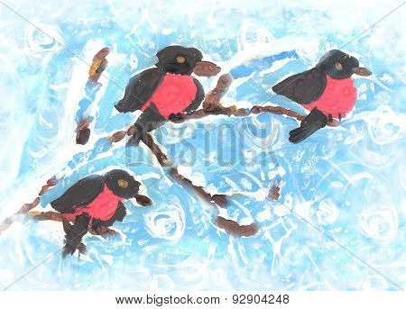 Bullfinches Sitting On A Branch