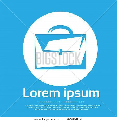 Briefcase Logo Blue Flat Icon Brief Case Vector