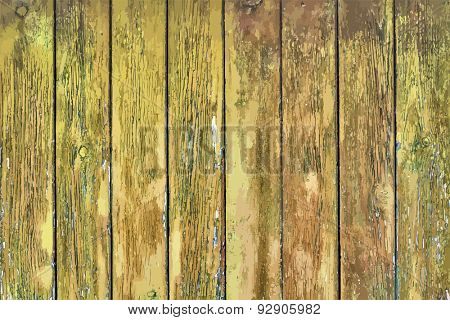 painted old wooden wall. yellow background, vector