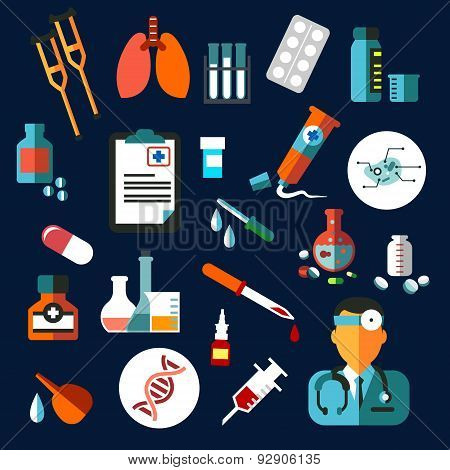 Medical flat icons with medication and diagnostics