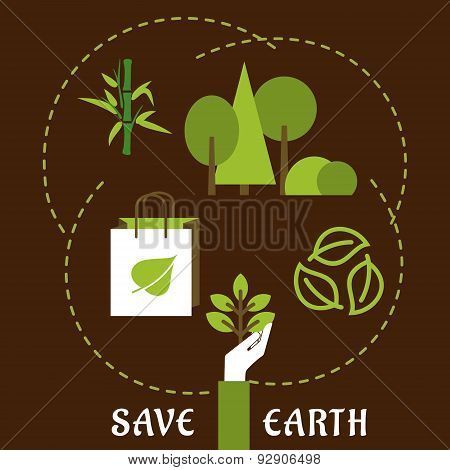 Save Earth and ecology flat concept