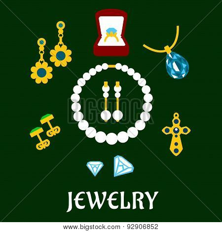 Assorted flat luxury jewelries icons