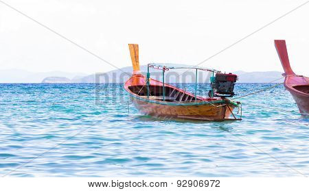 Long Tail Boat On The Sea