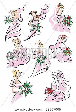 Bride sketches holding bouquet of flowers