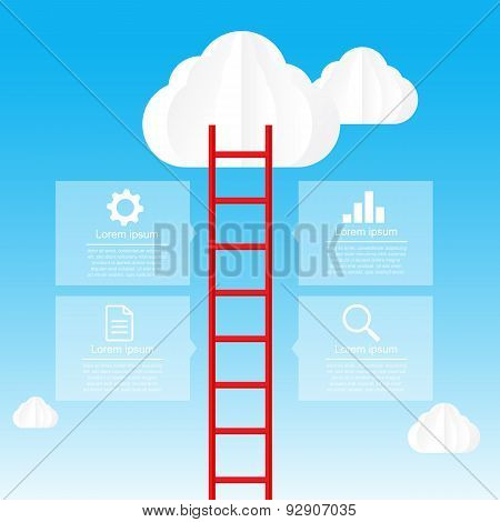 Ladder To Sky And Cloud Infographic Data Bubble Template - Vector Illustration 002