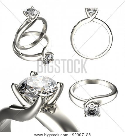 Big collection with diamond Rings. Jewelry background