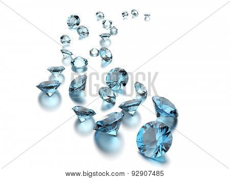 Round shape gemstone on  white. Jewelry background