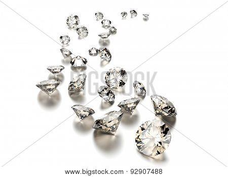 Round shape gemstone on  white. Jewelry background