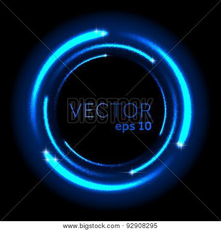Neon blue glittering star dust spiral. Vector illustration