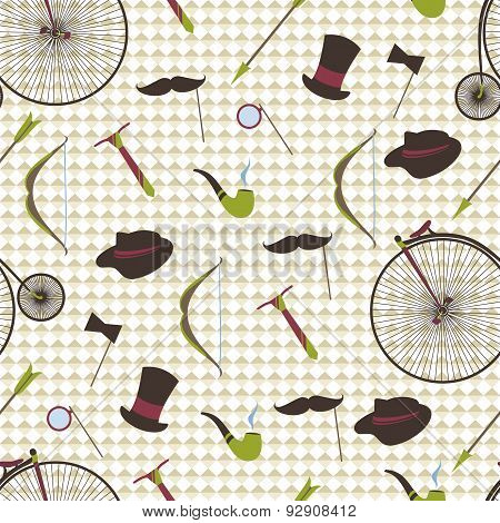 Bicycles, Mustaches, Ball, Arrow, Abstract Seamless Background.