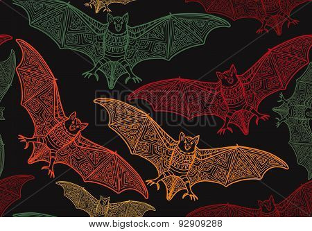 Vector seamless halloween pattern with bat