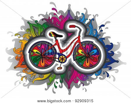 Vector illustration with cute decorative floral  bicycle