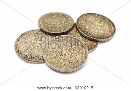 Old Polish Coins Collection Isolated On White Background