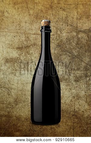 Bottle Of Sparkling Wine On Background With Effects